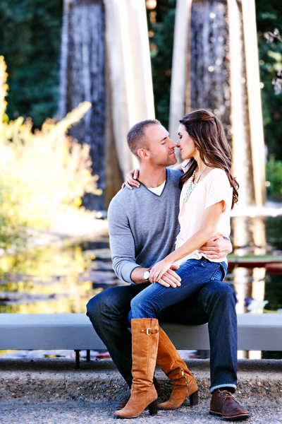 Botanic Garden kiss Denver engagement photography