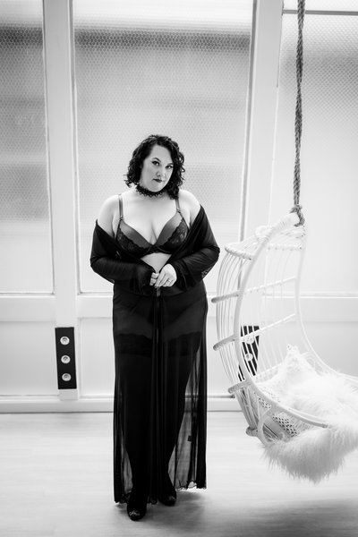 Plus Size Boudoir Image in Black and White