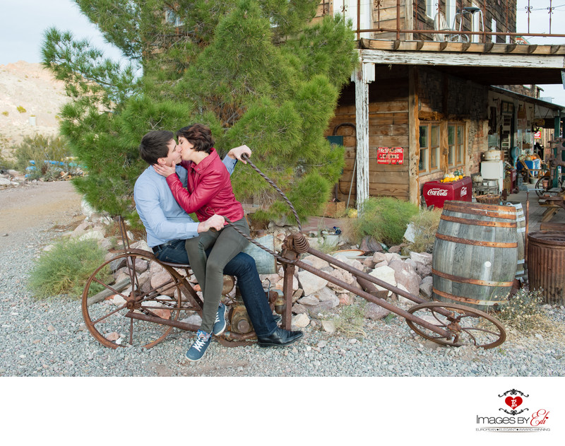 Nelson Ghost Town Las Vegas Wedding Couple sitting on an old bike