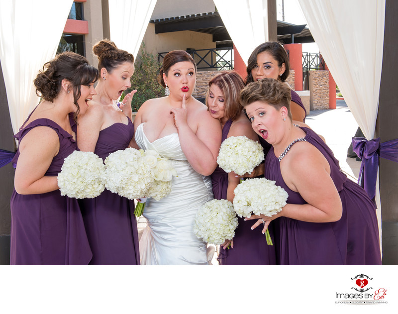 Bridesmaids having fun at Wedgewood at Stallion Mountain golf course ​