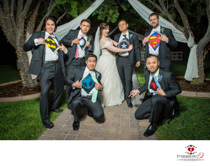 Groom and groomsmen with superhero T-shirts under shirts at The Grove Las Vegas wedding