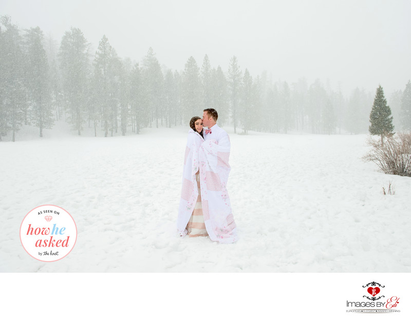 Engagement session in Las Vegas in snow blizzard featured by How He Asked by the Knot