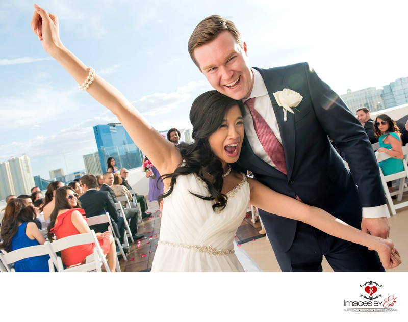 Las Vegas Platinum Hotel Misora rooftop wedding photo