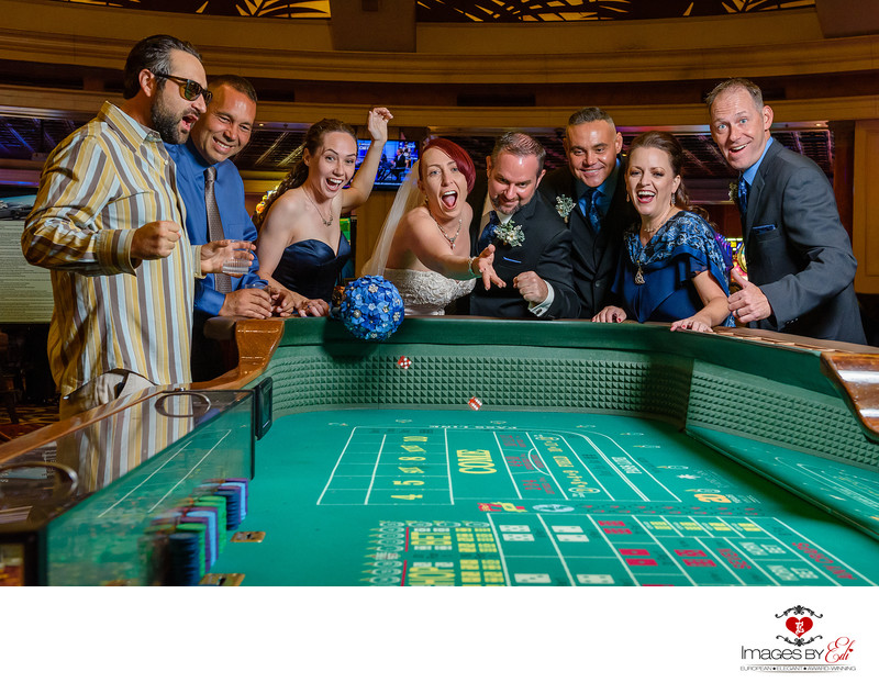 JW Marriott Las Vegas wedding Photographer |Fun Photo in Las Vegas at the Poker Table with wedding party | Images by EDI