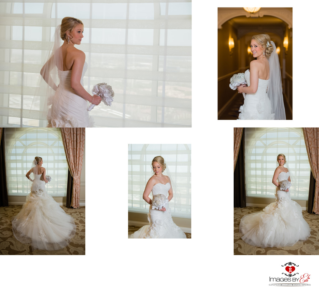 Hilton Lake Las Vegas Resort and Spa Wedding Album-bride portraits in the bridal suite