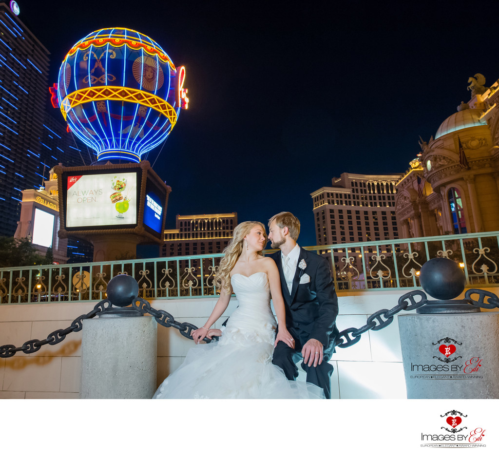 Hilton Lake Las Vegas Resort and Spa Wedding Album-Strip photo Tour, Paris Resort with Bellagio on the background