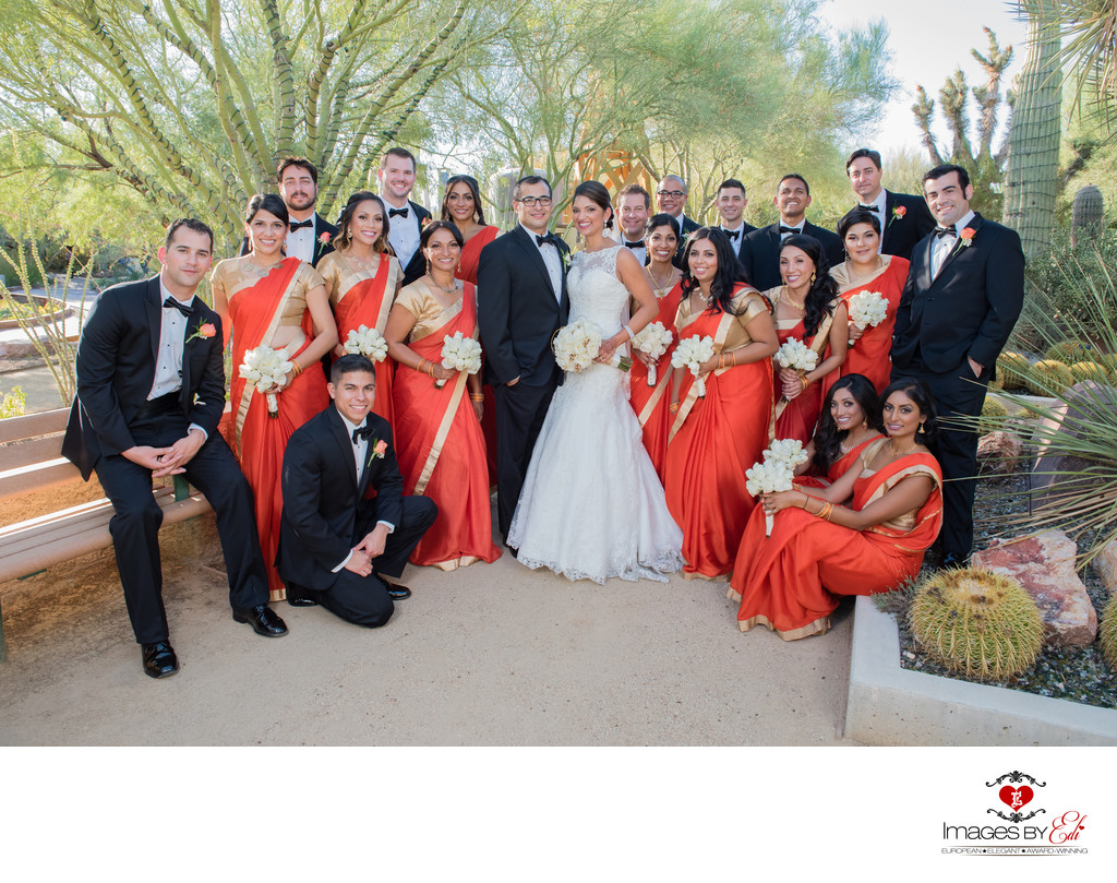 Las Vegas Wedding Photography at Springs Preserve | Photo of  Indian wedding bridal party | Vegas Wedding Photographer | Images by EDI