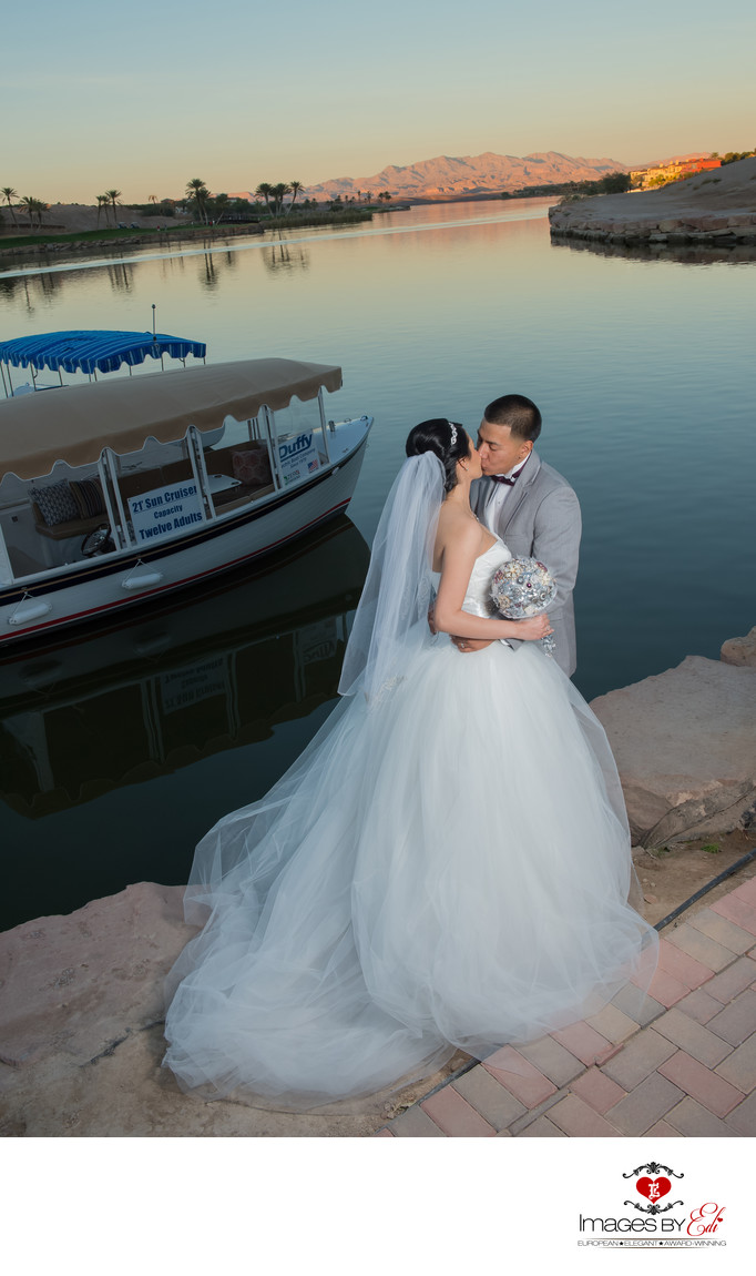 Lake Las Vegas Wedding Photography at sunset