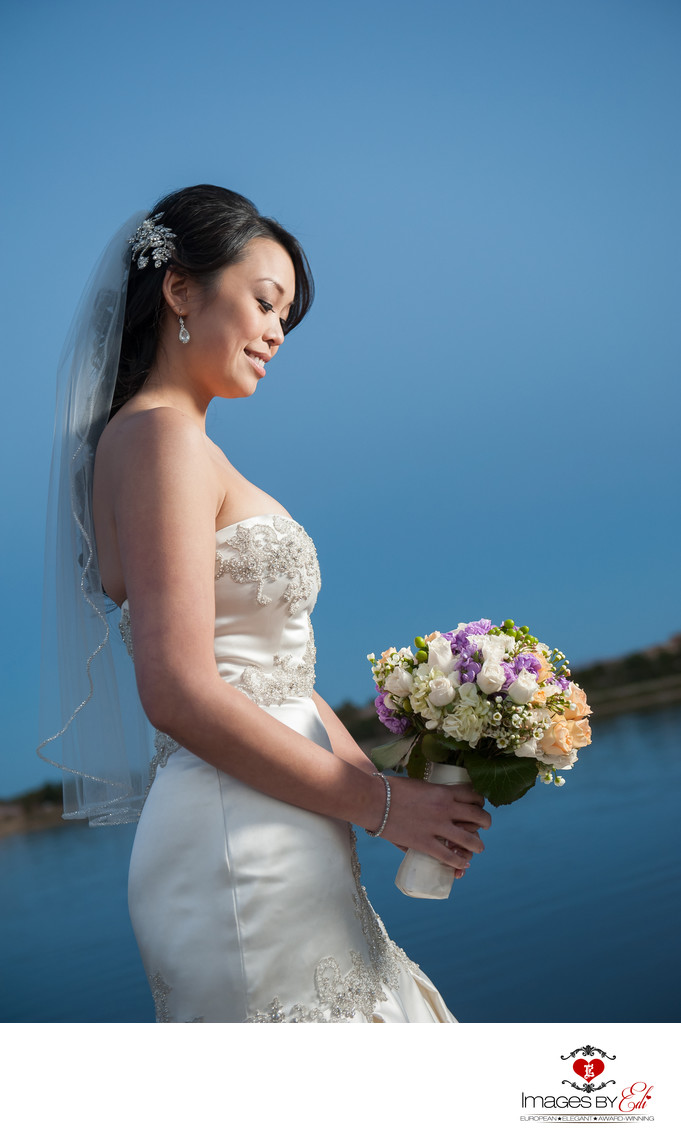 Bride alone at Westin Lake Las Vegas Resort and Spa