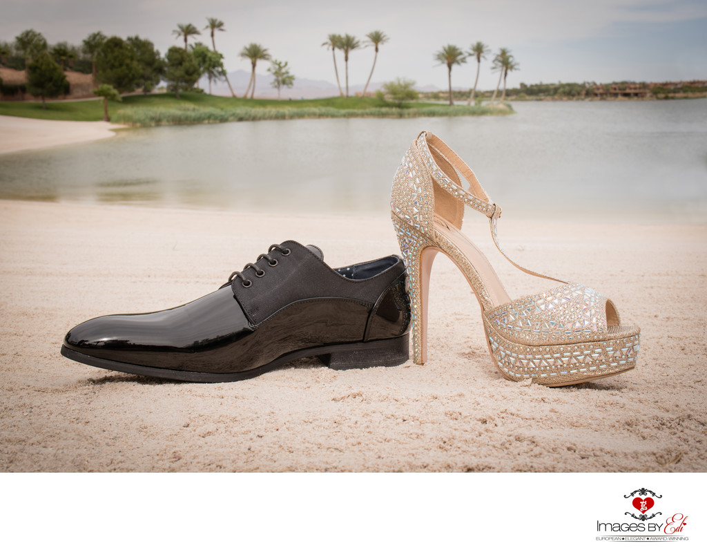 Las Vegas Reflection Bay Golf Course Las Vegas Wedding Photographer | Bride and groom's shoes together in the sand | Vegas Wedding Photography | Vegas  Elopement | Images by EDI