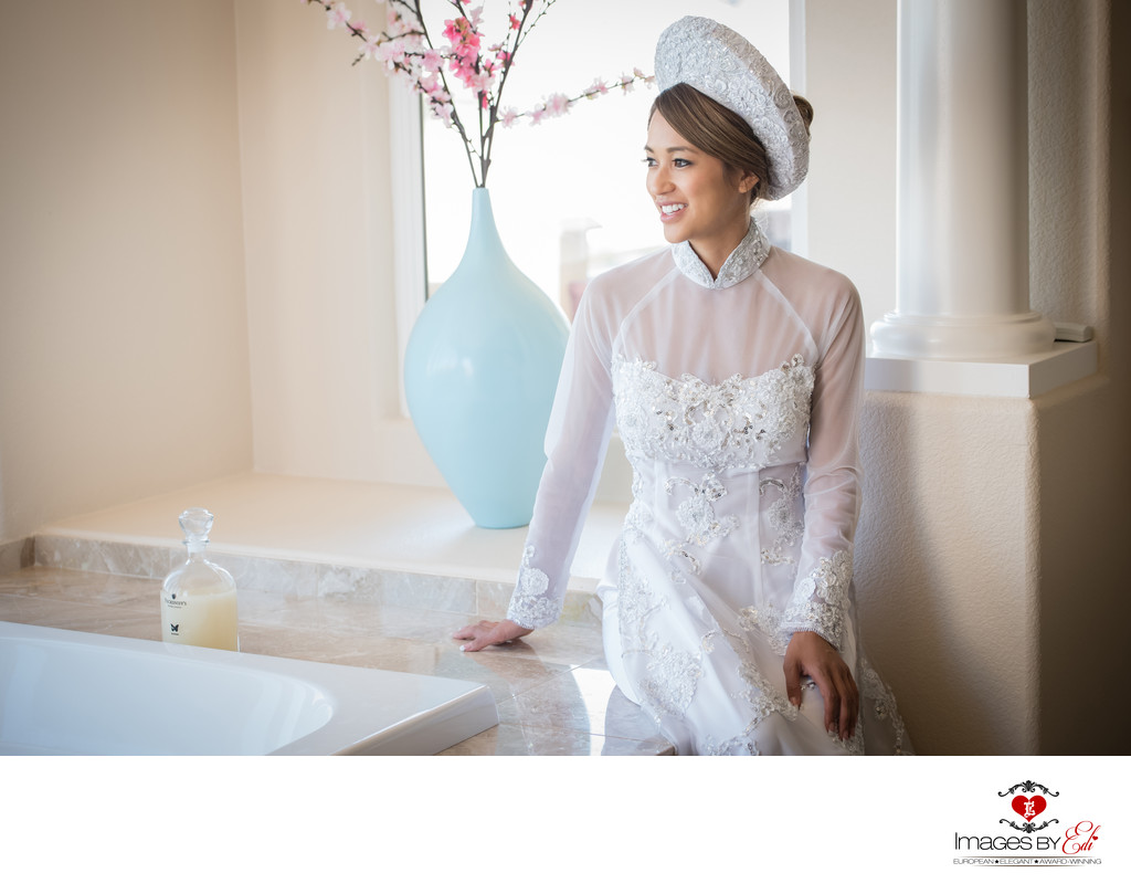 Vietnamese bride before tea ceremony