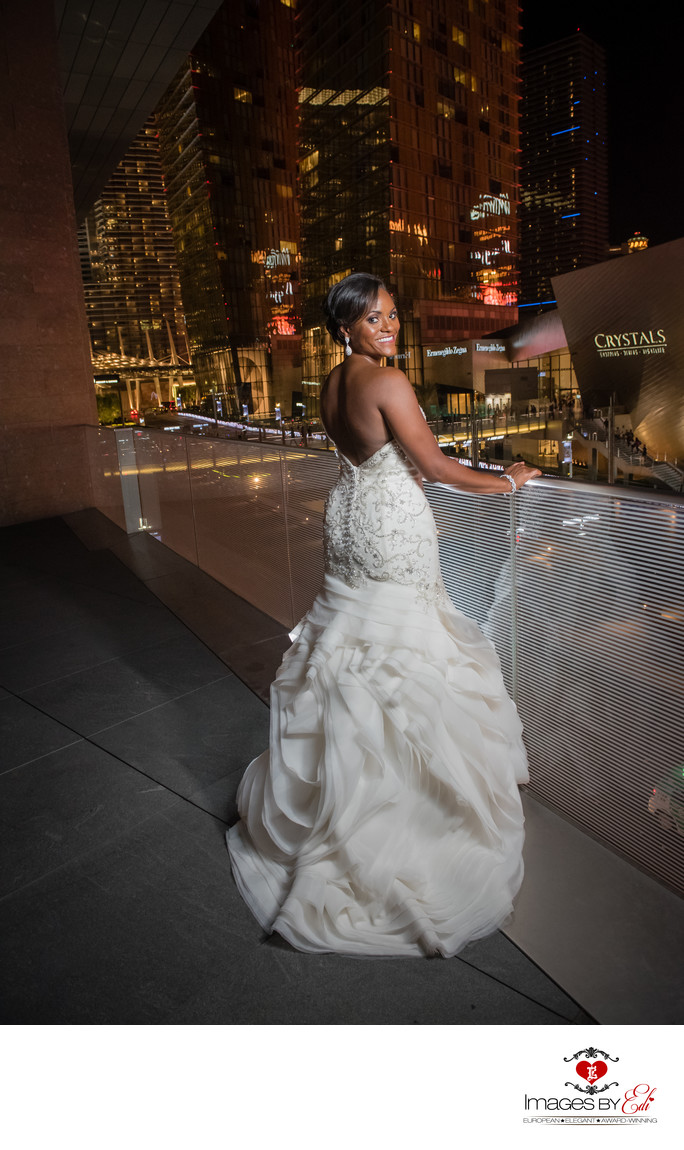 Mandarin Oriental Las Vegas Wedding photo with a Strip view