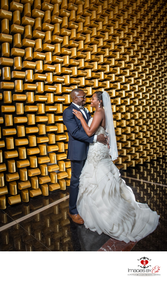 Mandarin Oriental Las Vegas wedding Photo by the golden wall