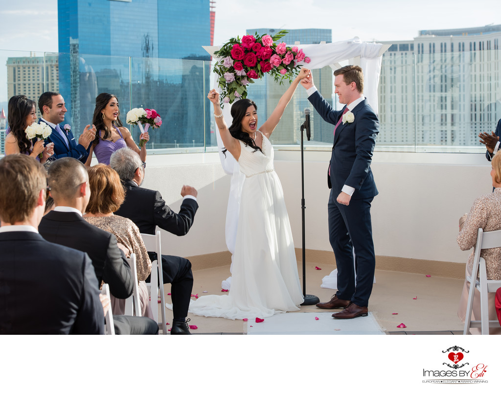 The Platinum Hotel & Spa Las Vegas roof top terrace wedding ceremony photography