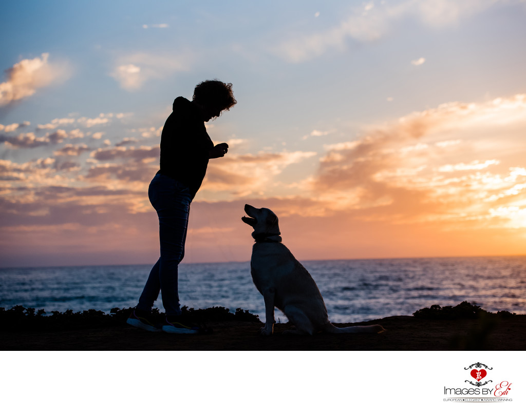 Sunset Photo of lab mix girl with her mom at second sunset on the beach  | Las Vegas Pet Photographer | San Diego Pet Photography session | Images By EDI