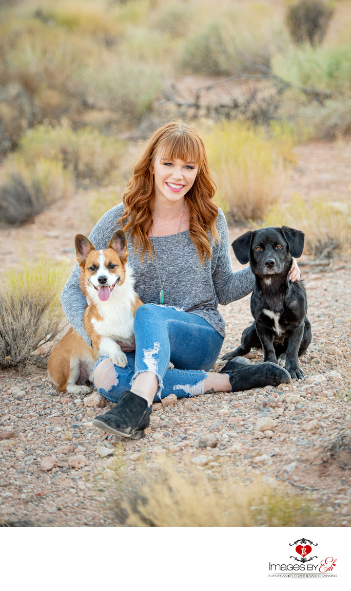 Girl with her corgis in the Las Vegas desert
