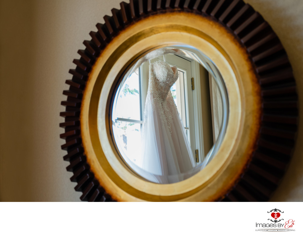 JW Marriott Las Vegas wedding Photo of the wedding dress reflection