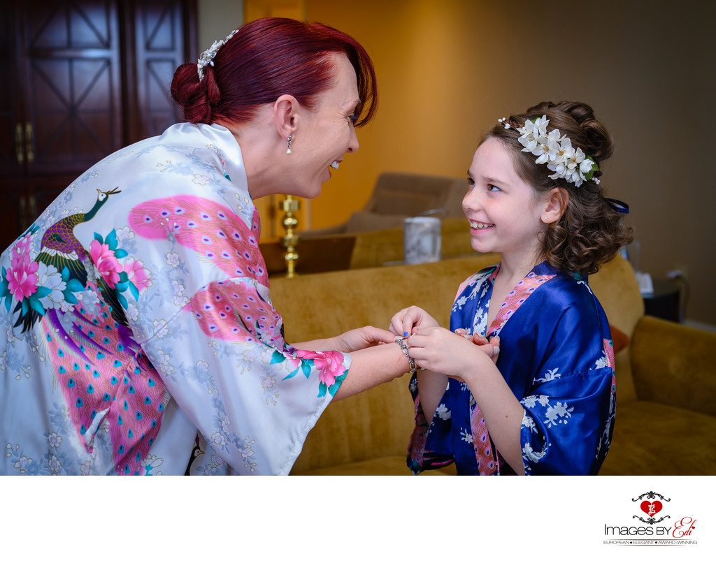 JW Marriott Las Vegas wedding Photo of the bride and flower girl