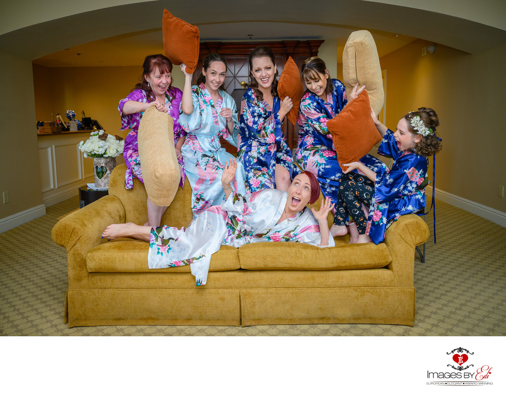 JW Marriott Las Vegas wedding Photo of the bridesmaids having fun in their robes