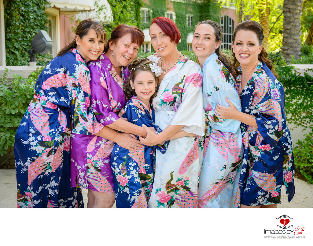 JW Marriott Las Vegas wedding Photography- bridesmaids in their robes