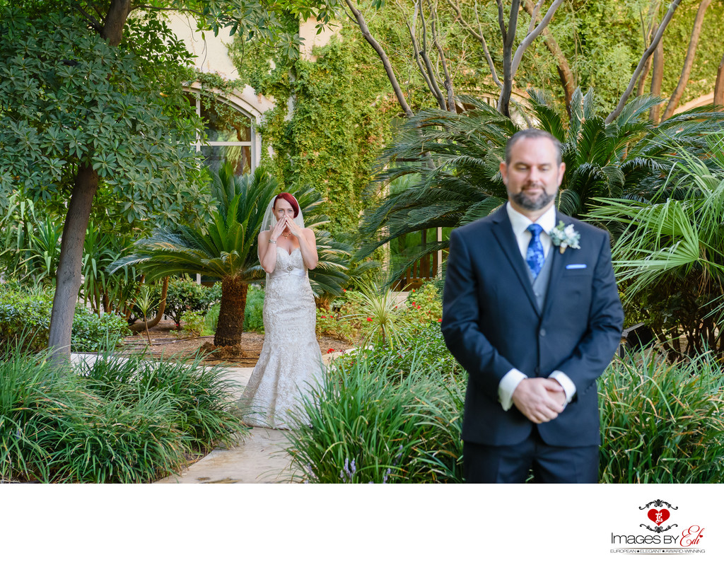 JW Marriott Las Vegas wedding Photo of the first look
