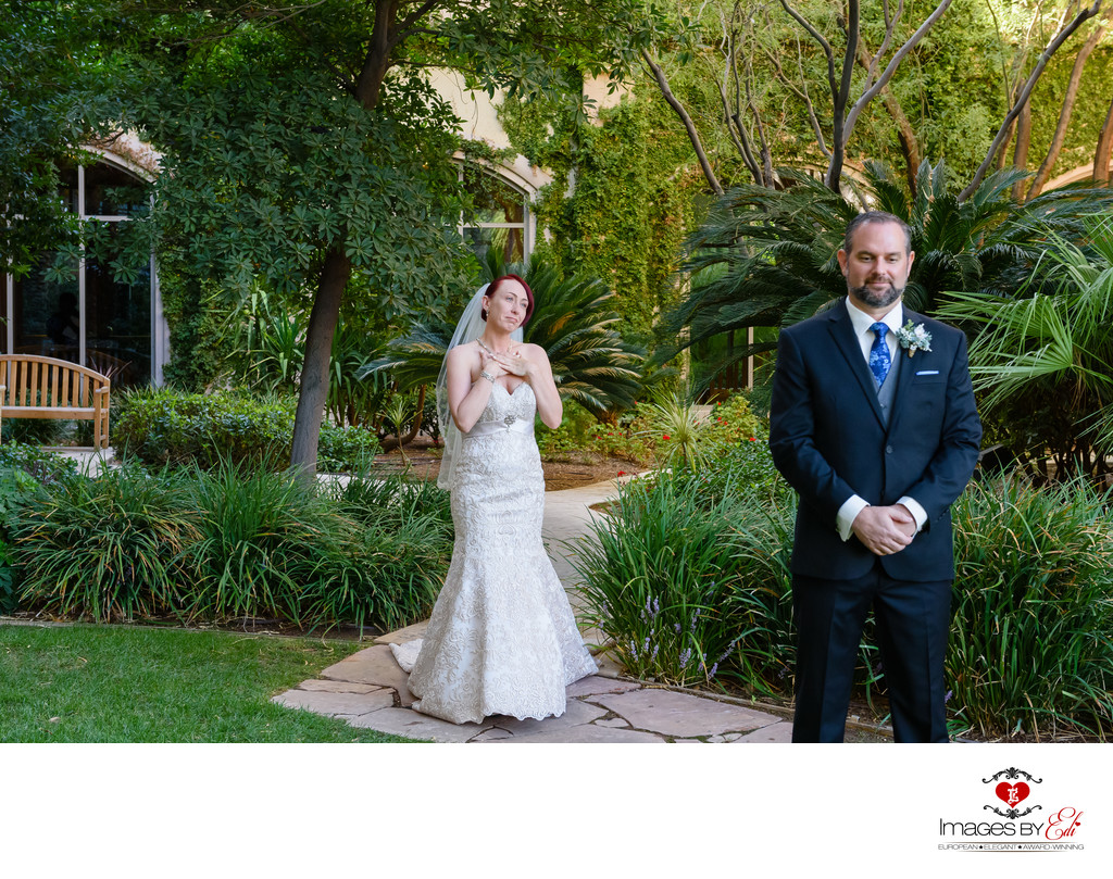 JW Marriott Las Vegas wedding Photography of the first look