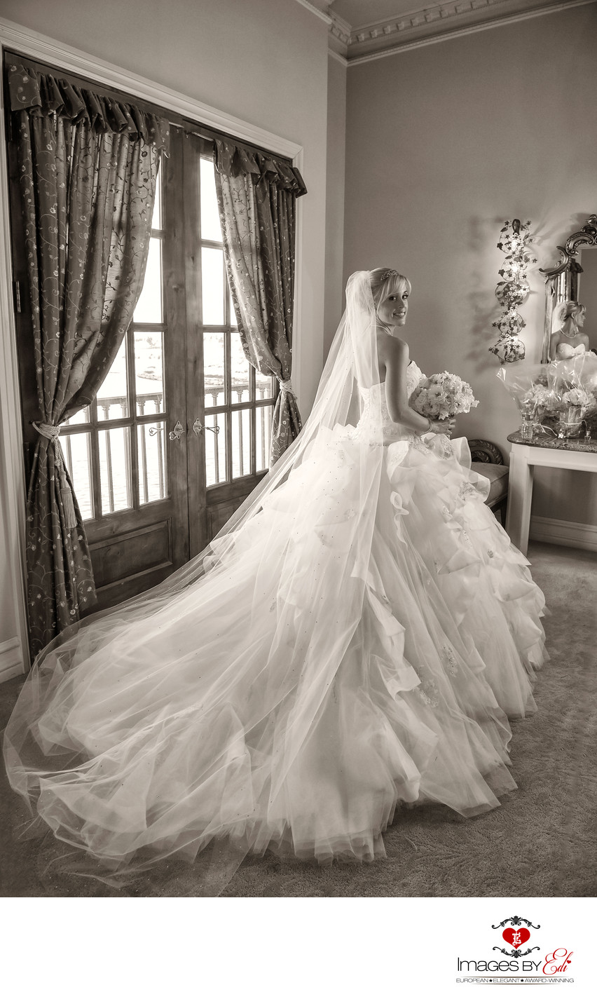 Bride alone before Hilton Lake Las Vegas Resort Wedding ceremony