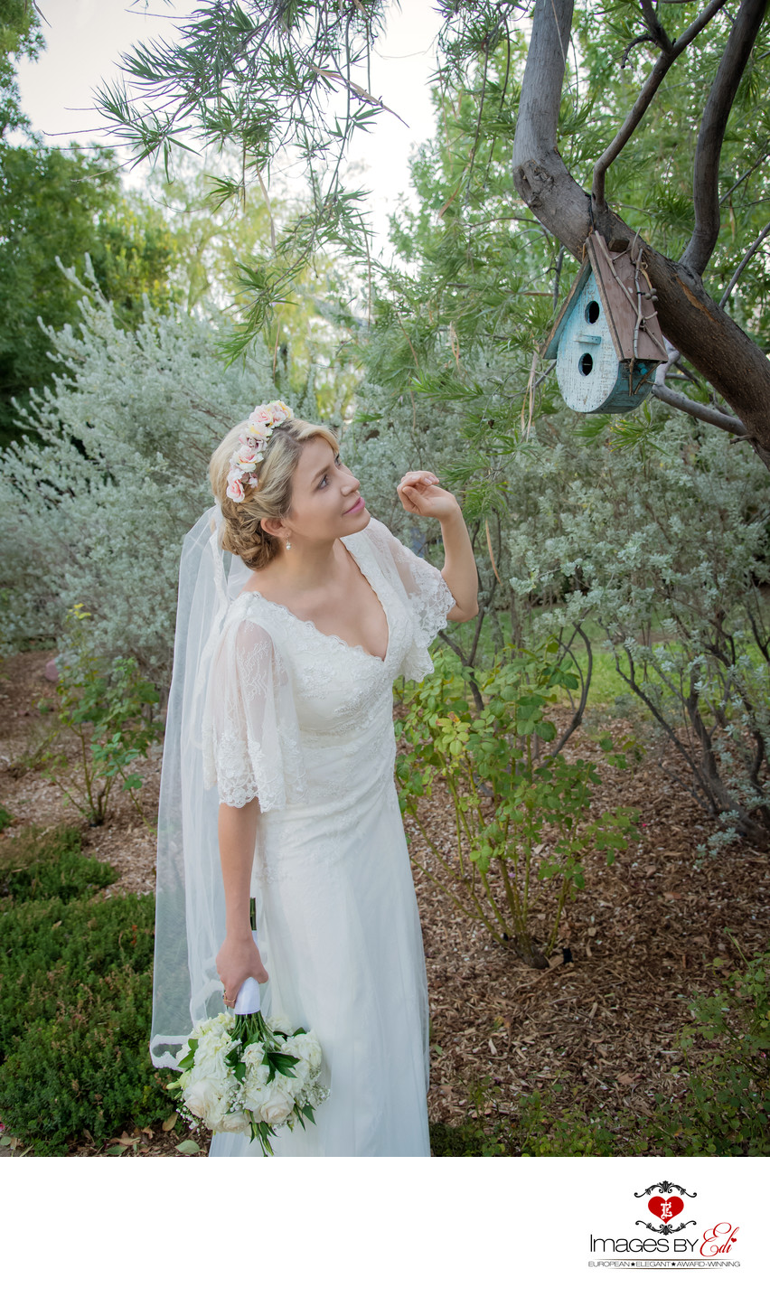 Springs Preserve bride is checking the bird feeder