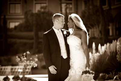 Westin Lake Las Vegas Sepia Photo of wedding couple