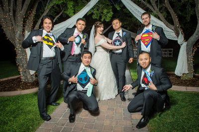 The Grove Las Vegas wedding Photography | Creative Las Vegas Wedding Photographer |Groom and groomsmen with superhero T-shirts under their shirts at Las Vegas Wedding | Images by EDI