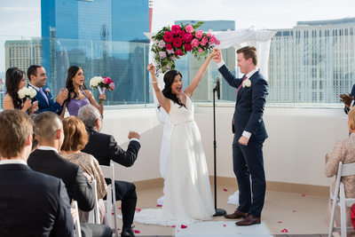 The Platinum Hotel & Spa Las Vegas Rooftop Terrace Wedding Ceremony Photography |  |Creative Las Vegas Wedding Photographer |  Las Vegas Strip Elopement | Images by EDI