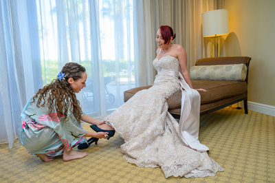 JW Marriott Las Vegas wedding Photo of the bride and maid of honor