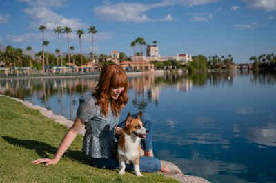 Las Vegas Family and Pet Photographer | Las Vegas Dog Photo session | Girl With Her Corgi By the Lakes at Las Vegas | Images By EDI