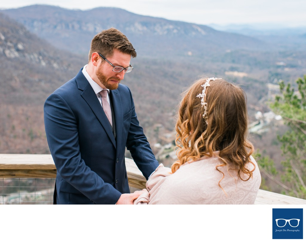 First Look Before Chimney Rock Elopement Ceremony