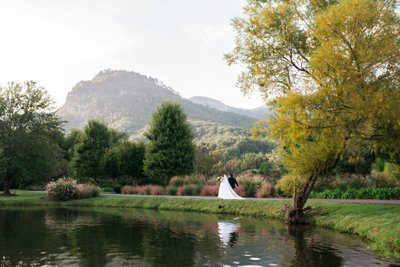 Couple Enjoying a Stroll After Their Lake Lure Wedding