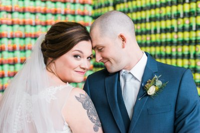 Highland Brewing Wedding Portrait at the Can Wall