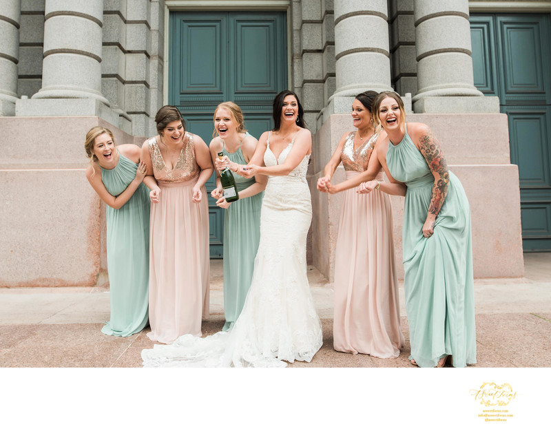 bridesmaids candid fun st louis wedding photographer