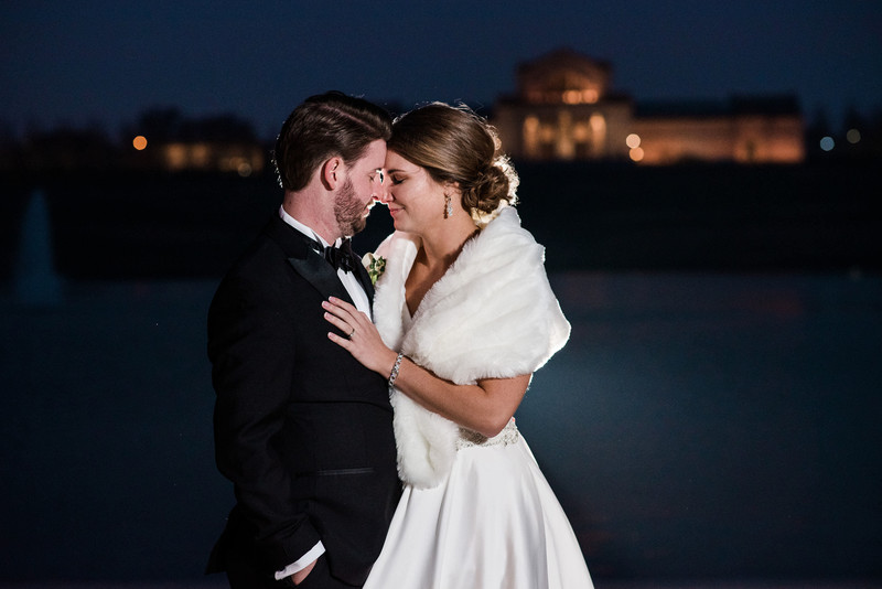 forest park grand basin night winter wedding photo