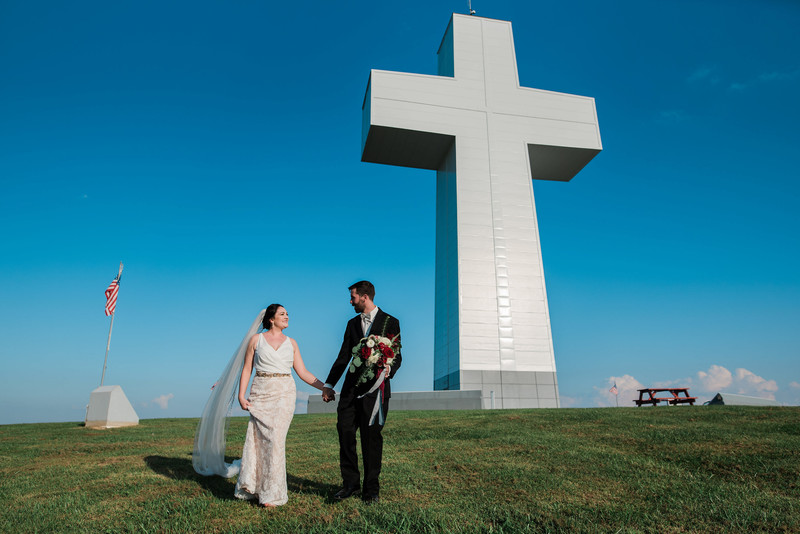 bald knob cross full sun bride groom portraits