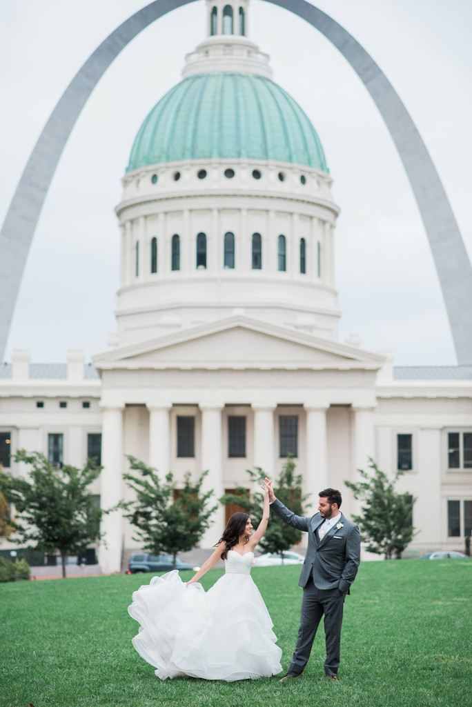 Hilton ballpark arch wedding couple capital