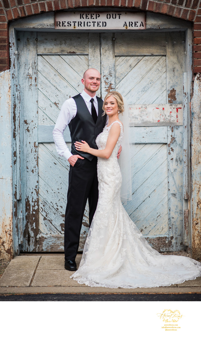 traditional pose industrial wedding portrait foundry