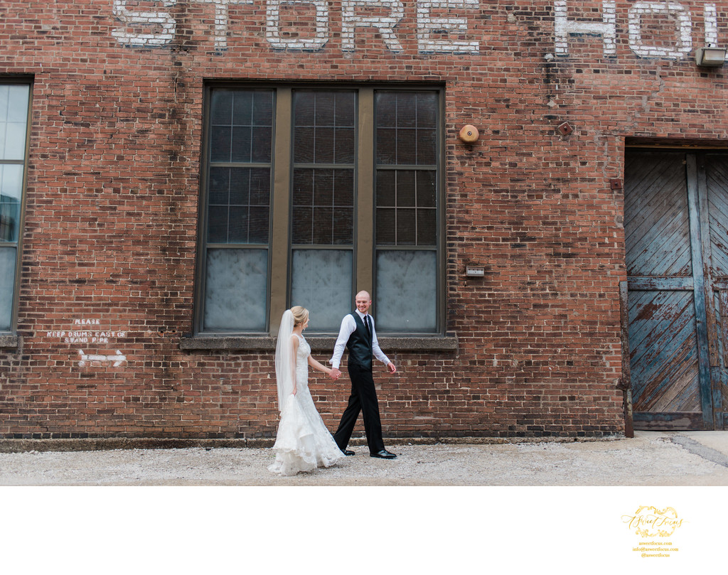 lifestyle photo industrial wedding portrait foundry