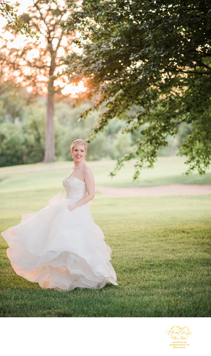 glen echo wedding bride swinging dress sunset