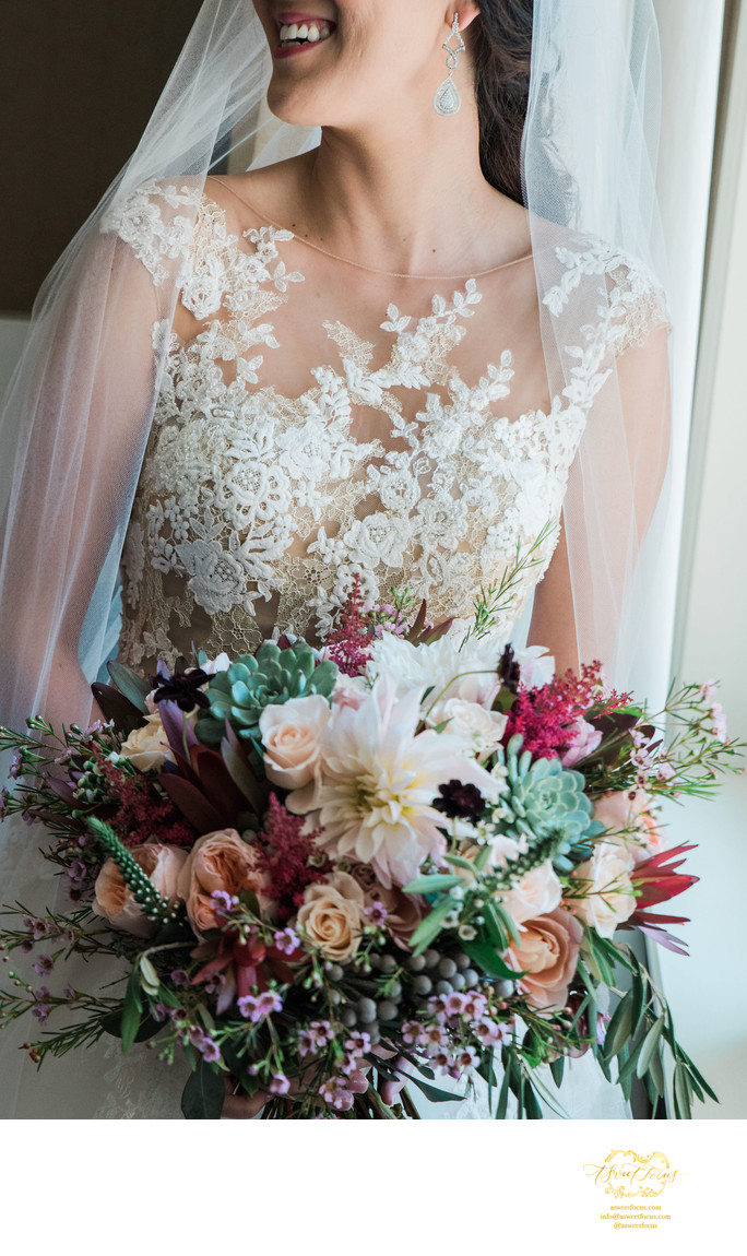 wedding dress detail rose and mint florals