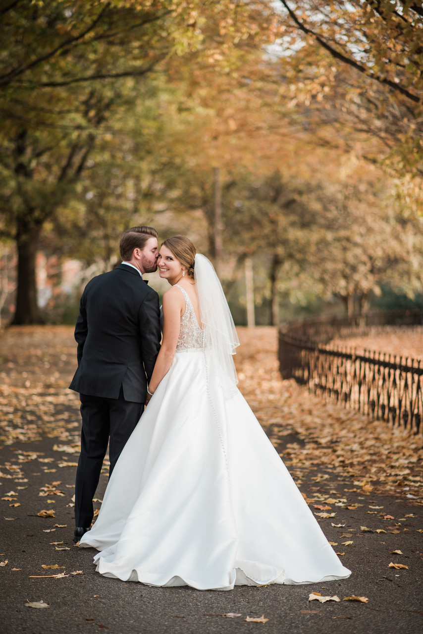 lafayette square wedding st louis fall Mori Lee dress