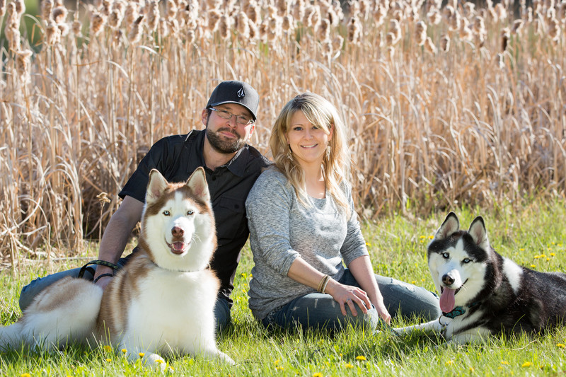 Couple with their dogs engagement photos
