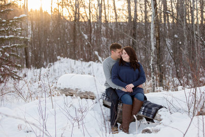 Edmonton winter engagement photos