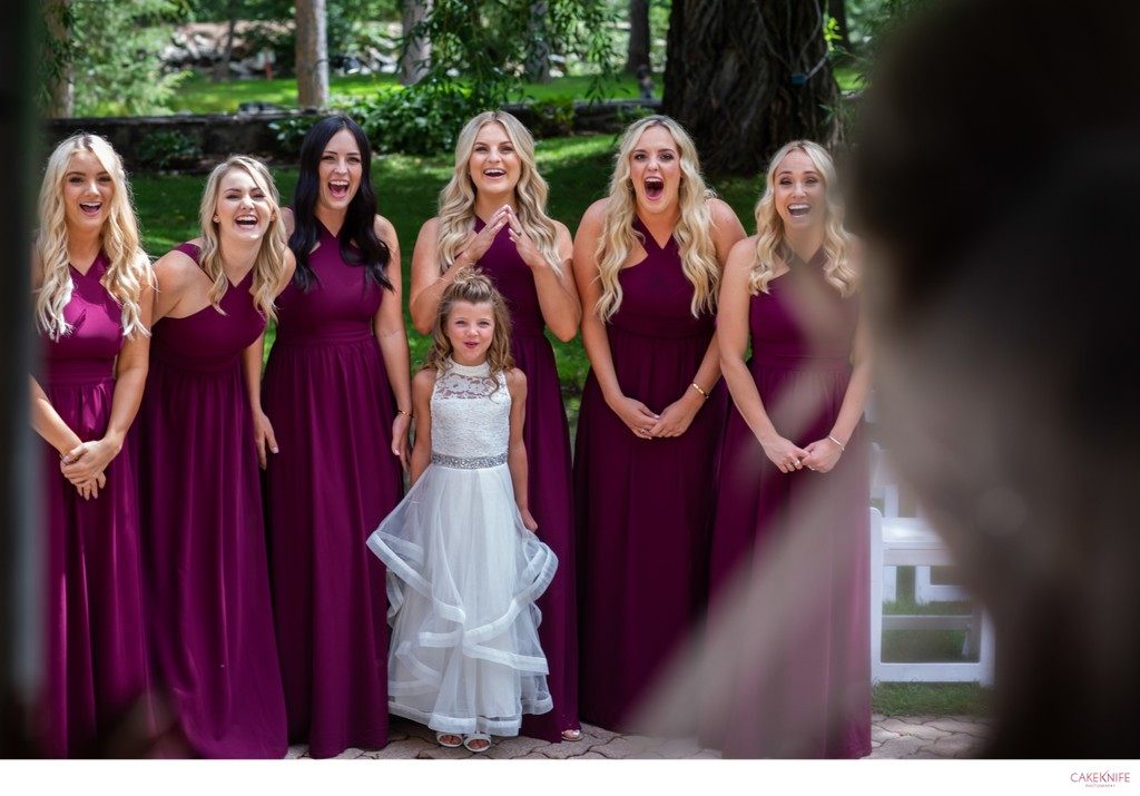 First Look with Bridesmaids at Dunafon Castle Colorado