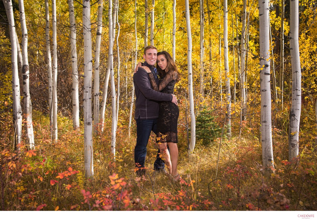 Boulder Engagement in the Autumn Aspens