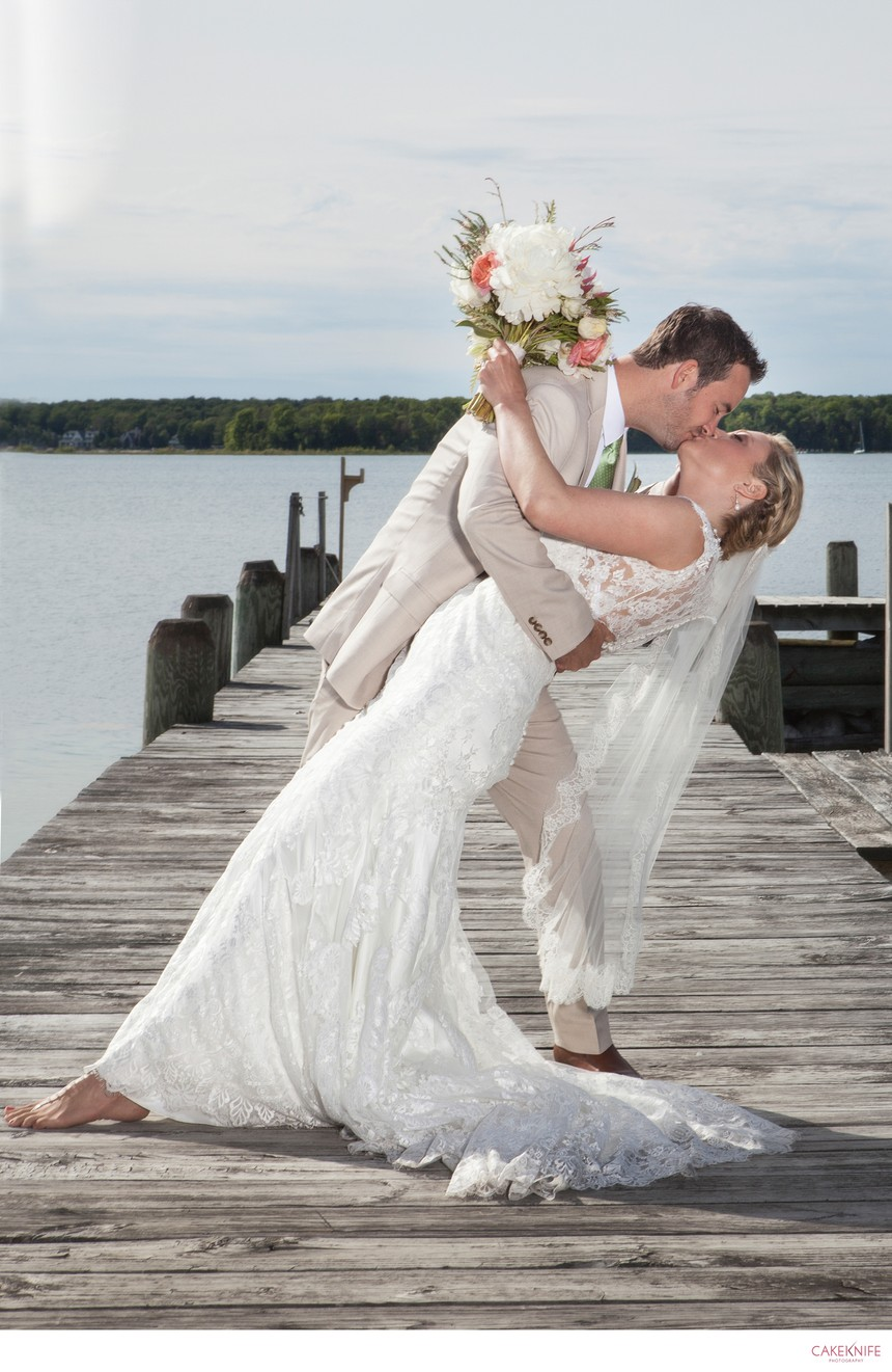 Traverse City Michigan Bride and Groom Dock Dip